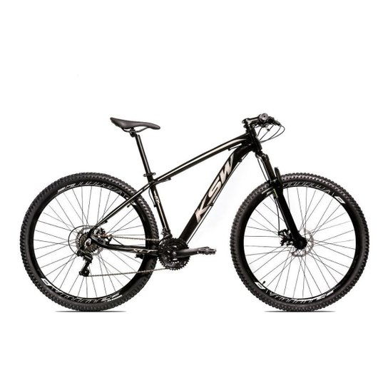 Bicicleta Alum 29 Ksw Cambios Gta 24 Vel A Disco Ltx - Preto+Prata