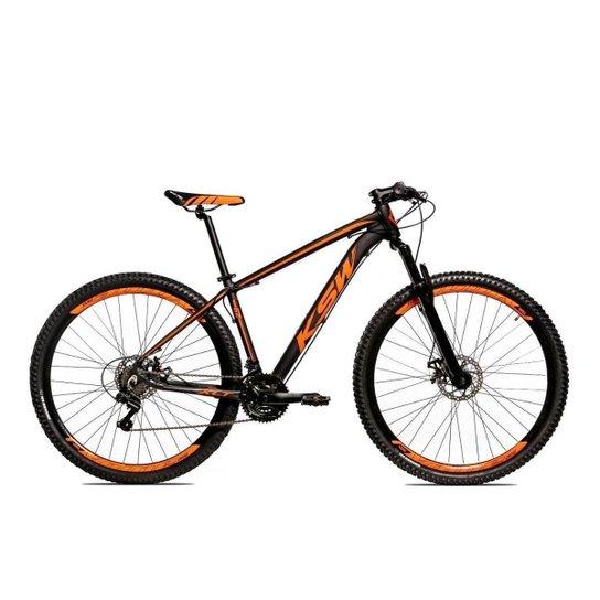 Bicicleta Alum 29 Ksw Cambios Gta 24 Vel A Disco Ltx - Preto+Laranja