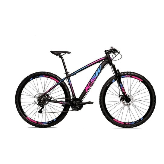 Bicicleta Alum 29 Ksw Cambios Gta 24 Vel A Disco Ltx - Azul+Rosa