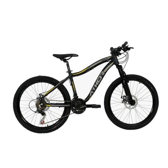 Bicicleta Aro 24 Infantil Athor Orion 21v Shimano Disco - Preto+Amarelo