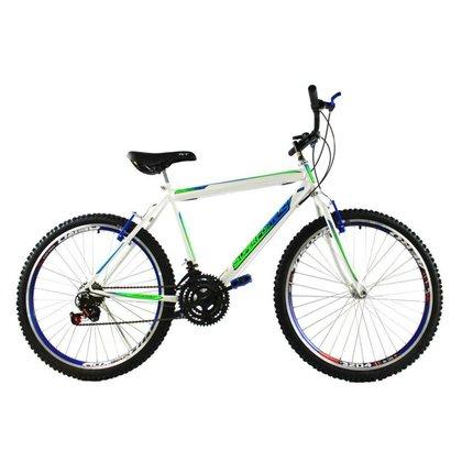 Bicicleta Aro 26 18 Velocidades Reforçada Aros Aero Branco/Azul