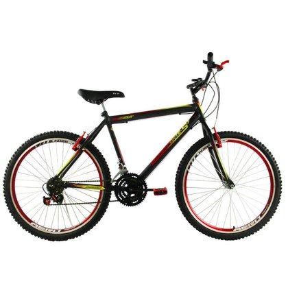 Bicicleta Aro 26 18 Velocidades Reforçada Aros Aero Preto/Vermelho