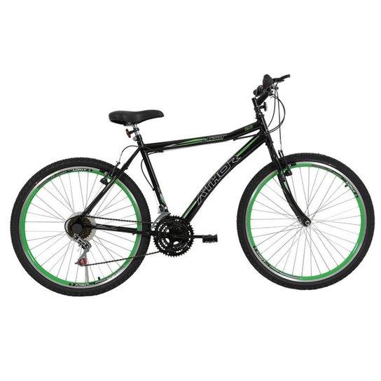 Bicicleta Aro 26 Athor Jet 18v Masculino Preto Verde - Preto+verde