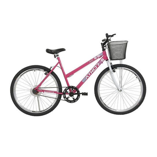 Bicicleta Aro 26 Athor Model Passeio Aro 26 S/M Feminina C/ Cesto - Rosa