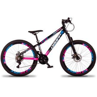 Bicicleta Aro 26 Dropp X Freeride 21 Marchas Aros Jumpmax DH Freio a Disco com Suspensão Dianteira