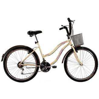 Bicicleta Aro 26 Feminina Beach Retrô 18 Marchas