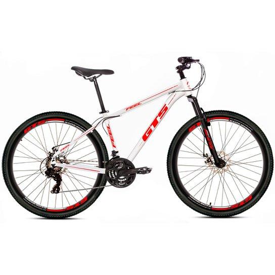 Bicicleta Aro 26 Gts Feel  Freio À Disco 21 Marchas - Branco+Vermelho