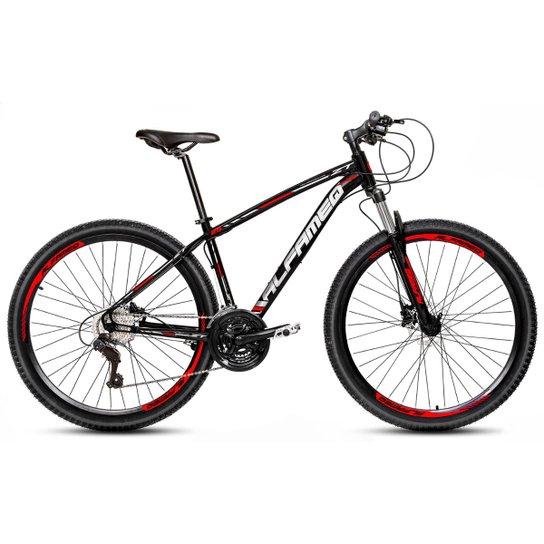 Bicicleta Aro 29 Alfameq Zt Freio a Disco Hidráulico Suspensão Trava 21 Marchas - Preto+Vermelho