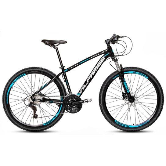 Bicicleta Aro 29 Alfameq Zt Freio a Disco Hidráulico Suspensão Trava 21 Marchas - Preto+Azul