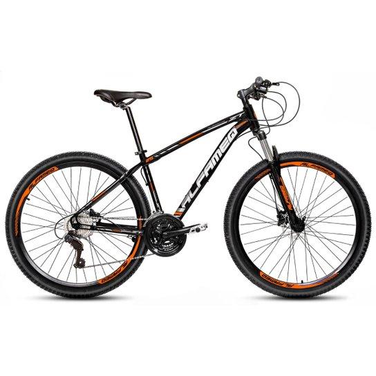 Bicicleta Aro 29 Alfameq Zt Freio a Disco Hidráulico Suspensão Trava 21 Marchas - Preto+Laranja
