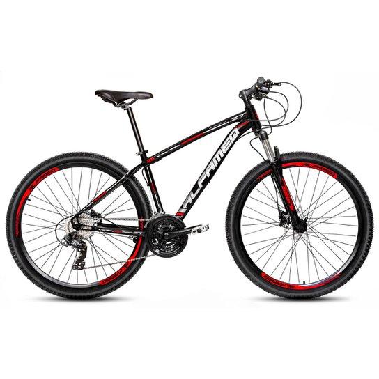 Bicicleta Aro 29 Alfameq Zt Freio a Disco Hidráulico Suspensão Trava 24 Marchas - Preto+Vermelho