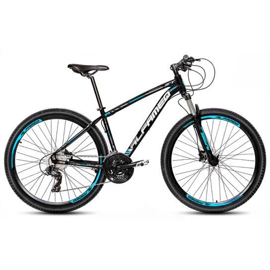 Bicicleta Aro 29 Alfameq Zt Freio a Disco Hidráulico Suspensão Trava 24 Marchas - Preto+Azul