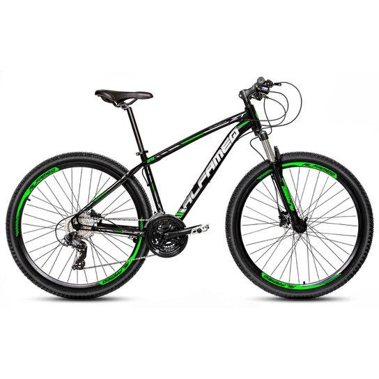 Bicicleta Aro 29 Alfameq Zt Freio a Disco Hidráulico Suspensão Trava 24 Marchas - Preto+verde