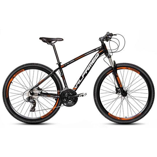 Bicicleta Aro 29 Alfameq Zt Freio a Disco Hidráulico Suspensão Trava 24 Marchas - Preto+Laranja