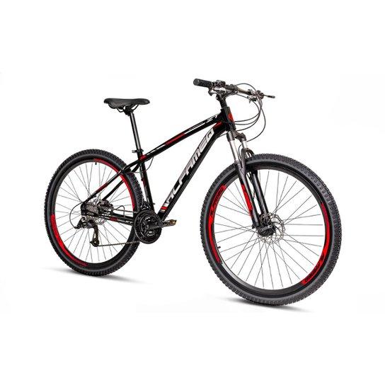 Bicicleta Aro 29 Alfameq Zt  Freio a Disco Hidráulico Suspensão Trava 27 Marchas - Preto+Vermelho