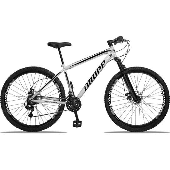 Bicicleta Aro 29 DROPP AÇO 21v Câmbios Shimano Freio a Disco Mecânico com Suspensão - Branco+Preto