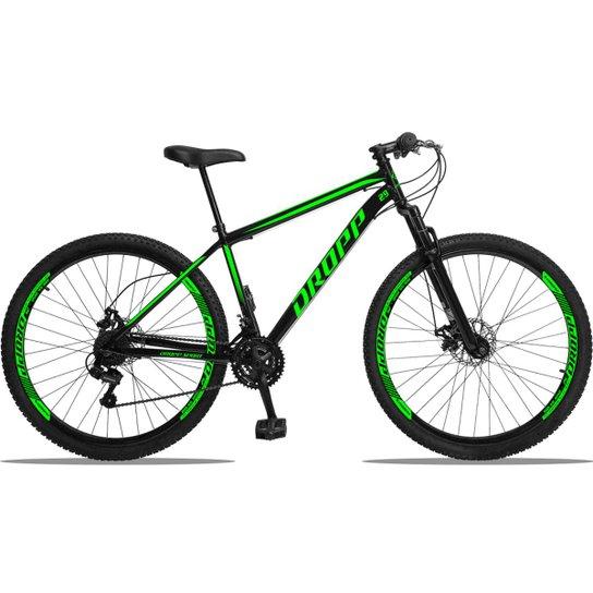 Bicicleta Aro 29 DROPP AÇO 21v Câmbios Shimano Freio a Disco Mecânico com Suspensão - Preto+verde