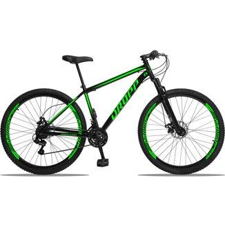 Bicicleta Aro 29 DROPP AÇO 21v Câmbios Shimano Freio a Disco Mecânico com Suspensão