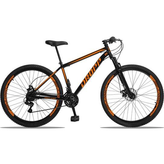 Bicicleta Aro 29 DROPP AÇO 21v Câmbios Shimano Freio a Disco Mecânico com Suspensão - Preto+Laranja