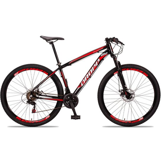 Bicicleta Aro 29 DROPP Alumínio 21 Marchas Freio a Disco - Preto+Vermelho
