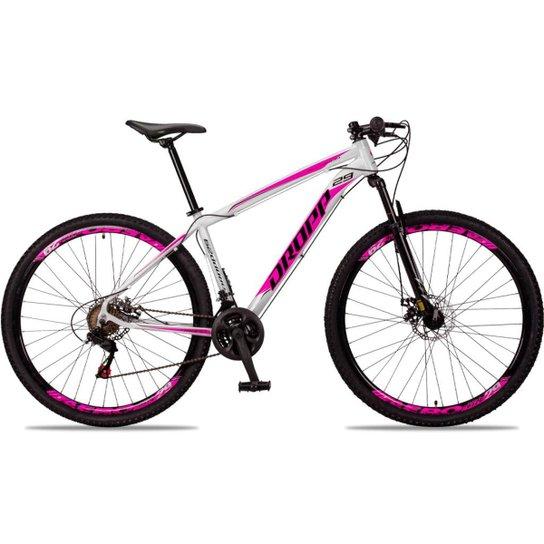 Bicicleta Aro 29 DROPP Alumínio 21 Marchas Freio a Disco - Branco+Pink