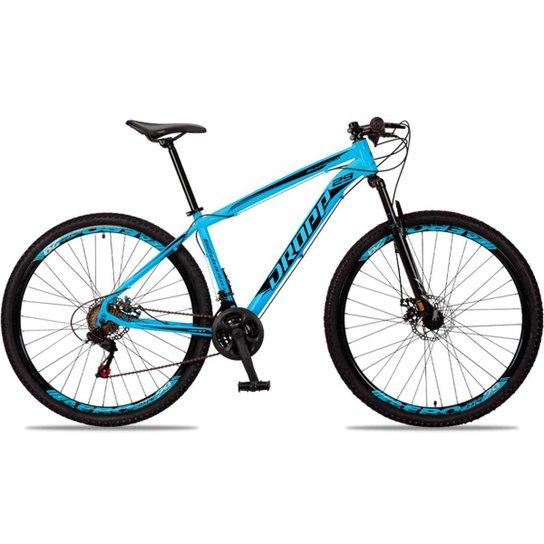 Bicicleta Aro 29 DROPP Alumínio 21 Marchas Freio a Disco - Azul+Preto