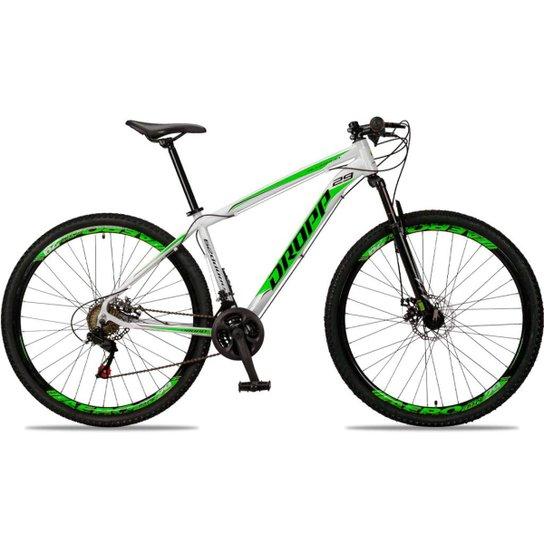 Bicicleta Aro 29 DROPP Alumínio 21 Marchas Freio a Disco - Branco+Verde