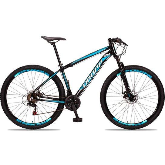 Bicicleta Aro 29 DROPP Alumínio 21 Marchas Freio a Disco - Preto+Azul