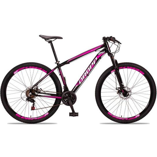 Bicicleta Aro 29 DROPP Alumínio 21 Marchas Freio a Disco - Preto+Pink