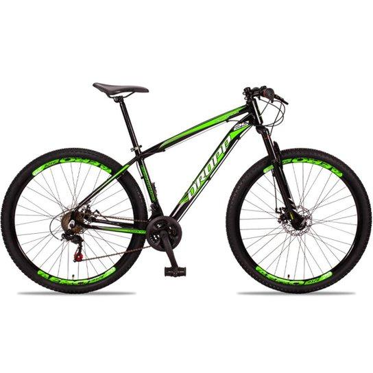 Bicicleta Aro 29 DROPP Alumínio 21 Marchas Freio a Disco - Preto+verde
