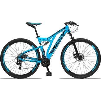 Bicicleta Aro 29 Dropp Full Suspensão 21V Cãmbios shimano Freios á Disco Pedivela Alumínio