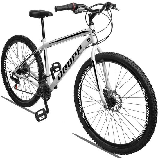 Bicicleta Aro 29 Dropp Sport Aço Freio Disc 21v - Branco+Preto