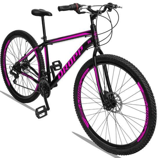 Bicicleta Aro 29 Dropp Sport Aço Freio Disc 21v - Preto+Rosa