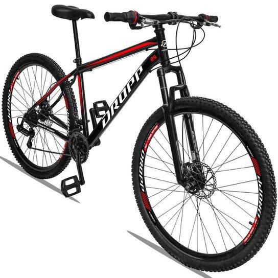 Bicicleta Aro 29 Dropp Sport Aço Suspensão Freio Disc 21v - Preto+Vermelho