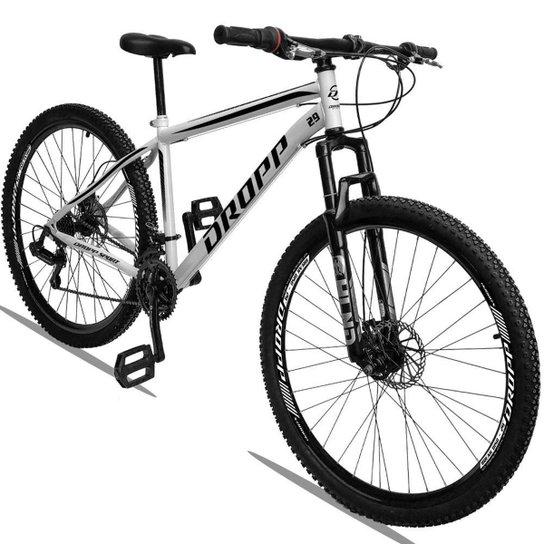 Bicicleta Aro 29 Dropp Sport Aço Suspensão Freio Disc 21v - Branco+Preto