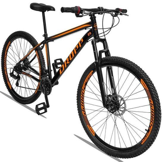 Bicicleta Aro 29 Dropp Sport Aço Suspensão Freio Disc 21v - Preto+Laranja