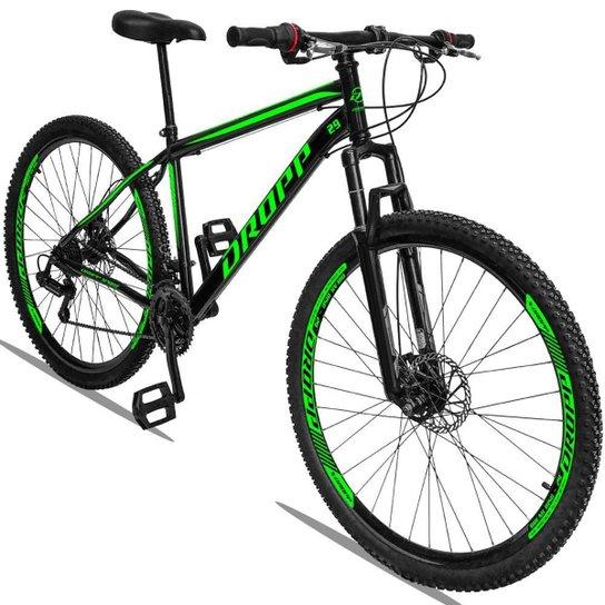 Bicicleta Aro 29 Dropp Sport Aço Suspensão Freio Disc 21v - Verde