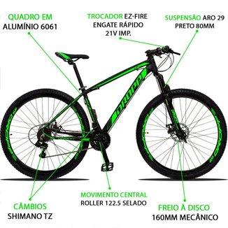 Bicicleta Aro 29 Dropp Z3 21v Câmbios Shimano Freio a Disco Preto e Verde