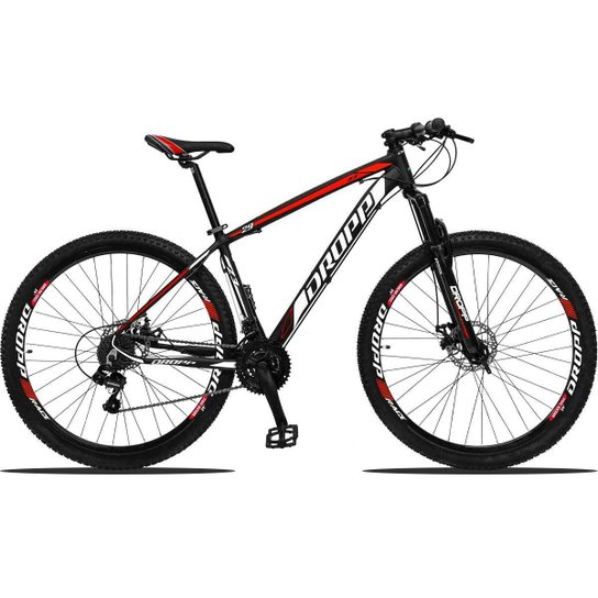 Bicicleta Aro 29 Dropp Z3 Shimano Suspensão Freio Disc 21v - Preto+Vermelho