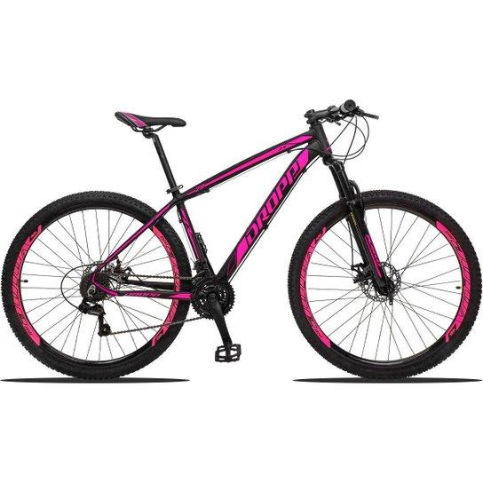 Bicicleta Aro 29 Dropp Z3 Shimano Suspensão Freio Disc 21v - Preto+Rosa