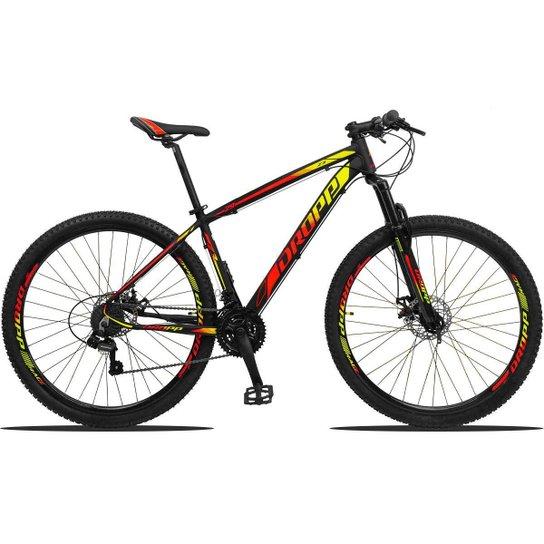 Bicicleta Aro 29 Dropp Z3 Shimano Suspensão Freio Disc 21v - Amarelo+Vermelho