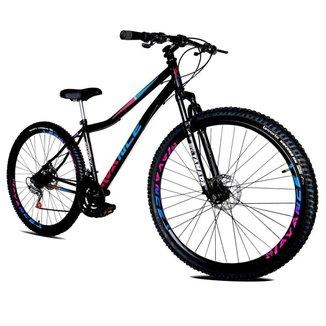 Bicicleta Aro 29 Feminina de Aço 21v Freio A Disco Suspensão Sem Trava