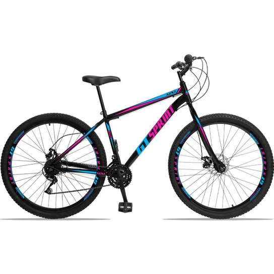 Bicicleta Aro 29 GT Sprint MX1 Aço 21 Marchas Freio a Disco - Azul+Rosa