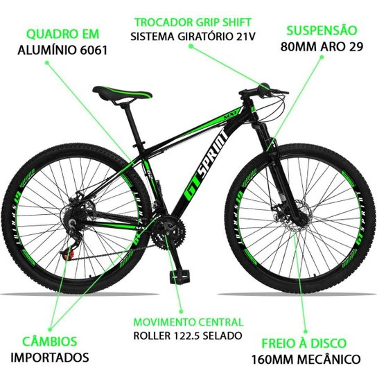 Bicicleta Aro 29 GT Sprint MX1 Alumínio Freio a Disco e Suspensão - Verde