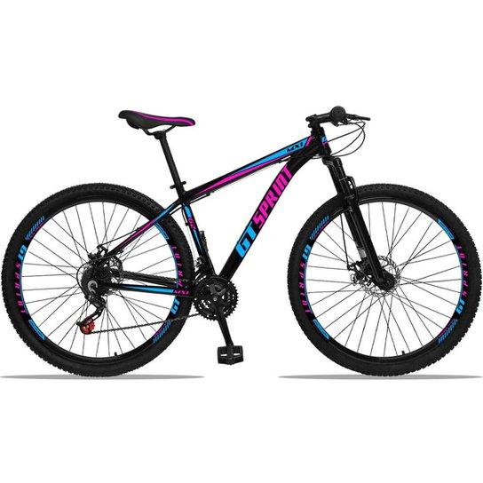 Bicicleta Aro 29 GT Sprint MX1 Alumínio Freio a Disco e Suspensão - Azul+Rosa