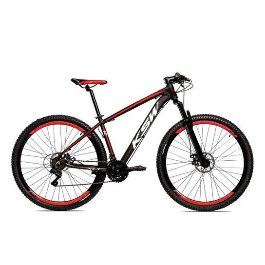 Bicicleta Aro 29 Ksw Shimano 24 Vel A Disco Ltx hidraulica - Preto+Vermelho