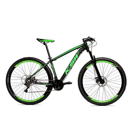 Bicicleta Aro 29 Ksw Shimano 24 Vel A Disco Ltx hidraulica - Preto+Verde Claro