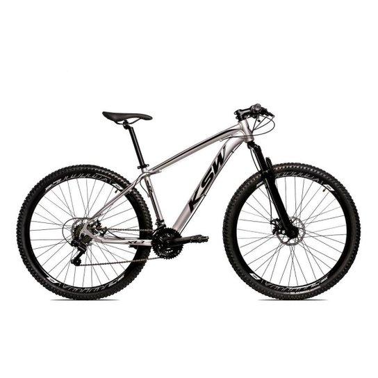 Bicicleta Aro 29 Ksw Shimano 24 Vel A Disco Ltx hidraulica - Prata+Preto