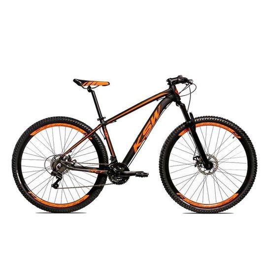 Bicicleta Aro 29 Ksw Shimano 24 Vel A Disco Ltx hidraulica - Preto+Laranja
