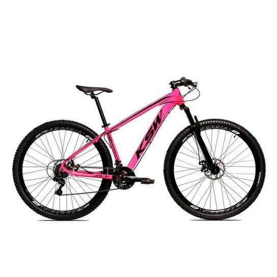 Bicicleta Aro 29 Ksw Shimano 24 Vel A Disco Ltx hidraulica - Rosa+Preto
